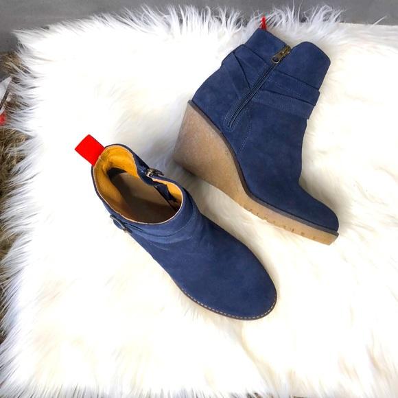 Boden blue suede wedge heels side zip buckle boots